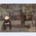 Man sitting on a log