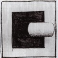 Black square and a white tube shaped
