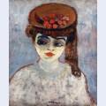 Woman with cherries on her hat