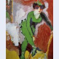 Woman with green stockings