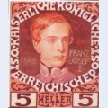 Design for the anniversary stamp with austrian emperor franz joseph 2