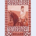 Design of the anniversary stamp with austrian franz joseph i on horseback