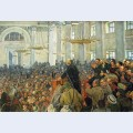 First appearance of lenin at a meeting in smolny the petrograd soviet on oct