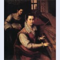 Self portrait at the clavichord with a servant