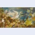 Hibiscus and birds