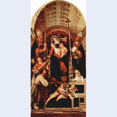 Altar of recanati polyptych main board madonna enthroned with the christ child three angels st