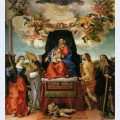 Enthroned madonna with angels and saints st catherine of alexandria and st augustine on the