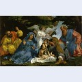 Holy family with angels and saints