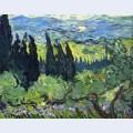 Italian landscape cypresses
