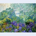 Landscape with violet irises