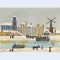 Ville au moulin pr s du canal en hiver