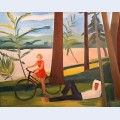 Maine girl with bicycle and recumbent man