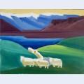 Sheep walking through valley