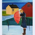 Woman in reykjavik with umbrella