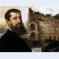 Self portrait of the painter with the colosseum in the background