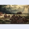 Kustlandskap med fartyg vid horisonten