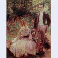 The artist s son and sister in the garden at sevres