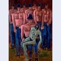 Christ held by half naked men