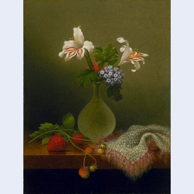 A vase of corn lilies and heliotrope
