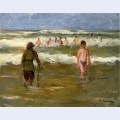Boys bathing with beach warden