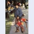 Parrot caretaker in artis