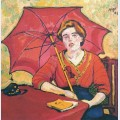 Girl in red with a parasol