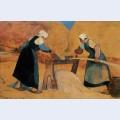 Breton women scutching flax labour