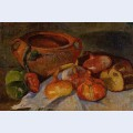 Still life pit onions bread and green apples