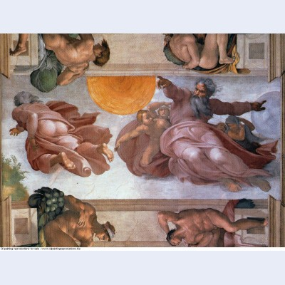 Sistine chapel ceiling creation of the sun and moon 1512