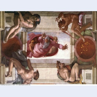 Sistine chapel ceiling god dividing land and water 1512