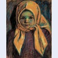Little girl with yellow babushka