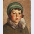 Copil cu beret verde