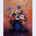 Bouquet of flowers in a blue vase 2