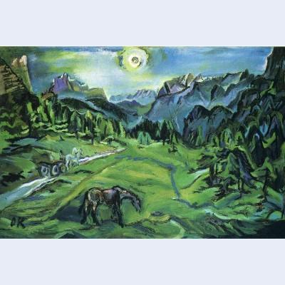 Dolomite landscape tre croci