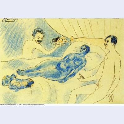 A parody of manet s olympia with junyer and picasso