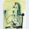 Drawing nude seated in armchair 1965