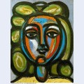 Head of a woman with green curls 1946