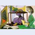 Interior with girl drawing 1956