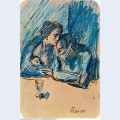 Man and woman with child in cafe 1903