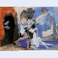 Minotaur with dead horse in front of a cave facing a girl in veil 1936