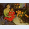 Mother and child behind the bouquet of flowers 1901