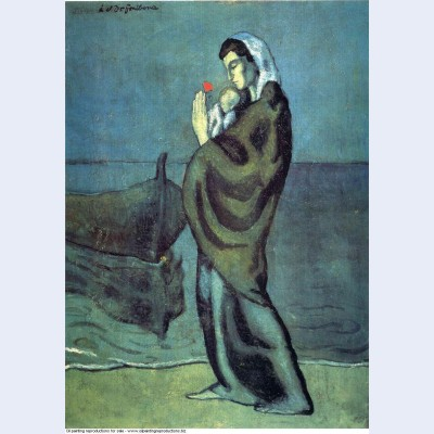 Mother and child on the beach 1902