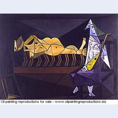 The aubade lying nude near musician 1942