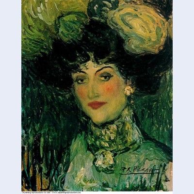Woman with feathered hat 1901