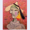 Woman with straw hat on flowery background 1938