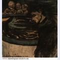 Allegorie jeune homme femme et grotesques 1899