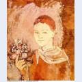 Garcon avec un bouquet de fleurs 1905