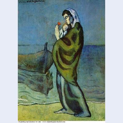 Mere et enfant sur le rivage 1902