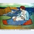 Mere et fille au bord de la mer 1901