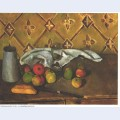 Still life with apples servettes and a milkcan